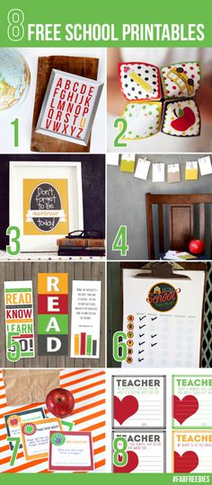 8 free school printables  #backtoschool