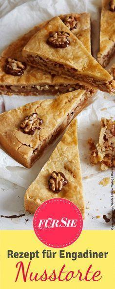 Nüsse mit Karamell und Mürbeteig vereint zu einem einzigartigen Kuchen: Engadiner Nusstorte.