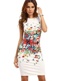 a5f2e7735aee9e Floerns Womens Floral Print Sleeveless Sexy Bodycon Cocktail Party Round  Neck Summer Dresses White S
