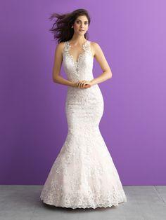 Allure Romance, 3016 - Jaehee Bridal Atelier | Top designer wedding dresses & bridal gowns    #sheath #plunging #illusion #lace #straps