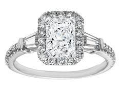 Radiant Diamond Halo Engagement Ring Baguette Side Stones in 14K White Gold