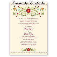 Wording sample for wedding invitation in spanish wedding ideas blusa bordada spanishenglish wedding invitation i print your wording in english on the front filmwisefo