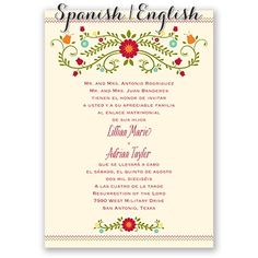 Blusa Bordada Spanish English Wedding Invitation I Print Your Wording In On The Front
