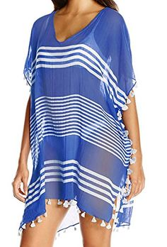 Spikerking Women's Beachwear Stripes Tasse Chiffon Bikini Cover Up/Dress Batwing Sleeve,Blue. MATERIAL: Polyester, Light Weight, Very Cozy And Comfortable. VARIOUS WEARING STYLES ¨C Multi-functional design that is convenient and easy to wear and comes in a semi sheer design with v neck or scoop that is super comfortable and breathable for those long summer days and offer an embellished neckline, elastic waistband style. PURPOSE ¨C perfect for spring casual and summer travel,Beach and other…