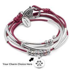 Charmer Leather Wrap Charm Bracelet Add Your Charm Choice – Lizzy James