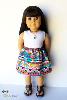 Lightweight fabric and cotton knit form a darling skater doll dress with a bold Aztec print! This dress features a multi-color Aztec print skirt on