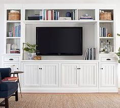 Aubrey Small Media Suite with Bridge - Pottery Barn Small Entertainment Center, Entertainment Center Decor, Entertainment Products, Living Room Furniture, Living Room Decor, White Furniture, Rustic Furniture, Modern Furniture, Furniture Dolly