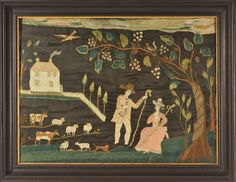 """Late 18th-century Schoolgirl embroidery at the Litchfield Female Academy, Connecticut - """"This delightful courting scene depicts shepherd and shepherdess in a landscape complete with sheep, cows and dog with a house spewing smoke from the chimney and a tree laden with grapes. Garden and pastoral scenes were romantic indulgences and often created in paint or needlework."""""""