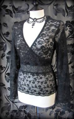 Goth Black Lace / Net Cross Over Bell Sleeve Top 12 14 Elegant Gothic Vampire | THE WILTED ROSE GARDEN on eBay // Worldwide Shipping Available