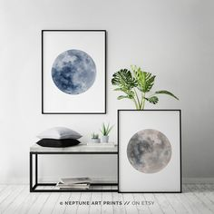 Blue Watercolor Moon, Blue Full Moon Print, Set of 2, La Luna, Full Moon Printable, Indigo, Blue Gray Wall Art, Minimalist Poster Home Decor