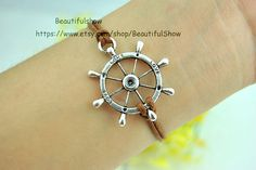 Silver Rudder Cuff BraceletBrown Wax  Bracelet by BeautifulShow, $1.50 Beautiful handmade bracelet
