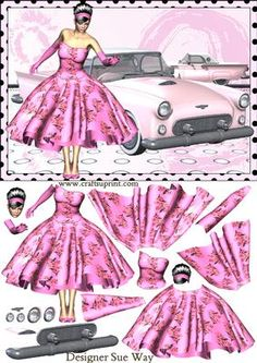 Rock & Roll lady & her Pink T-bird Car Decoupage
