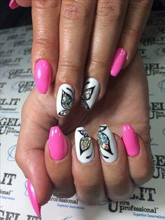 Nails, nail art, nail design, pink nails, spring 2017 nails, butterfly  nails, sparkling nails, summer nails