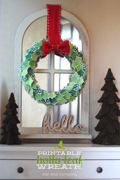 Free Printable Holly Leaf Wreath at Kiki and Company. Darling!
