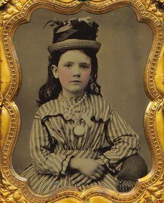 1860s hand tinted tintype or daguerrotype of girl with neato hat.