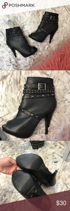 Black Peep-Toe Studded Booties Black studded booties!! Super cute and runes true to size! Has a thin scratch as pictured. Other than that it's in great condition. Accepting all reasonable offers and bundles ♥️ Macy's Shoes Ankle Boots & Booties