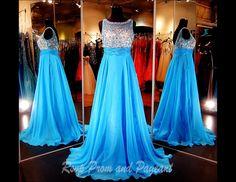 Blue High Neck Chiffon Prom Dress