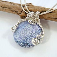 Blue Gemstone Wire Wrapped Pendant  Blue by BeauBellaJewellery #gemstone #necklace #blue #fireagate #jewelry #handmade #etsy #beaubella