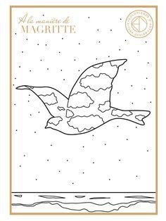 """Coloriage issu de la collection """"À la manière de"""" créé par Aïtana Design. #histoiredelart #renemagritte Plus de créations ? Découvrez l'univers AD : www.aitanadesign.com"""