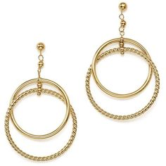Interlocking Twisted Circle Earrings in 14K Yellow Gold - 100%... (74.075 RUB) ❤ liked on Polyvore featuring jewelry, earrings, gold, statement earrings, 14k earrings, 14 karat gold earrings, hoop earrings and gold jewelry