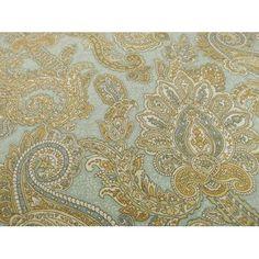 Designer Cotton Teal/Beige Paisley Print Home Decorating Fabric - DFW51214   Buyfabrics.com