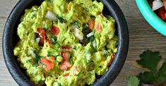 No cilantro and 1 tomato not Cilantro and cayenne give this classic guacamole a tasty kick. Serve it smooth or chunky. Mexican Food Recipes, Keto Recipes, Cooking Recipes, Healthy Recipes, Ethnic Recipes, Chinese Recipes, Party Recipes, Vegetarian Recipes, Original Recipe