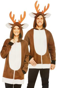 0962677bd0 Forum Holiday Christmas Reindeer Hoodie Costume Brown White One Size