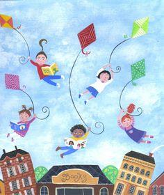 art pictures of kite flying Go Fly A Kite, Kite Flying, Painting For Kids, Art For Kids, Art Pictures, Illustrators, Whimsical, Kids Rugs, Children