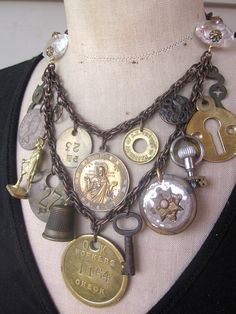 Steampunk Necklace Vintage Necklace  Charm Necklace by rebecca3030,    LOVE THIS!!!