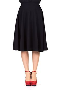 Feminine Stretch High Waist Flared Circle Skater Midi Skirt L Black * Read more reviews of the product by visiting the link on the image.