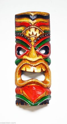 "Hawaiian Tiki Gods | Chanting God Small Tiki Mask 11"" Hawaiian Tribal Hut Wooden ... Hawaiian Tribal, Hawaiian Tiki, Totems, Tiki Faces, Tiki Man, Tiki Statues, Tiki Bar Decor, Tiki Totem, Vintage Tiki"