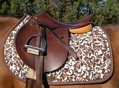 Blue and Brown Damask Close Contact Saddle Pad by PaddedPonies, $55.00