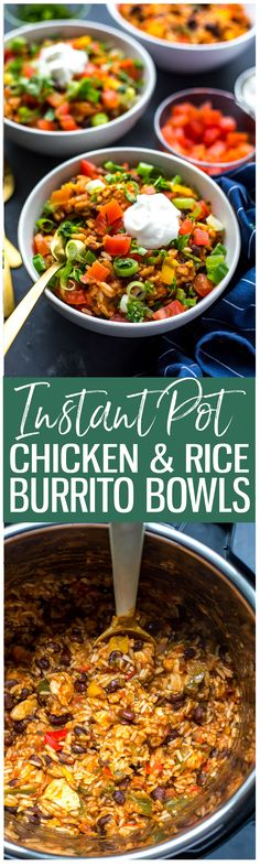 These 20-Minute Instant Pot Chicken Burrito Bowls are a delicious, healthy quick dinner or meal prep idea using mostly pantry staples – read on for a slow cooker option!