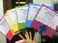 """I made these for the plants we are giving our Sunday School teachers this year.  I made 35 of these bad boys!   The text reads:   Thank you for being a teacher  at First Baptist!  You plant the word of God in our Hearts!   """"Train up a child in the way  he should go; even when he is old   he will not depart from it."""" Proverbs 22:6"""