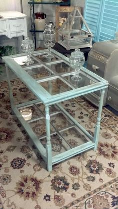 Now take this Window table one step further and insert architectural glass or cast glass in each or some frames. Awesome!