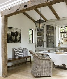 Love the white-washed flooring and the natural wood accents!