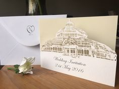 Sefton park palm house wedding invitation. Liverpool wedding invite.Unique handmade invitations designed especially for your day. Laser cut in high quality card. All cards come with a hand stamped high quality envelope. Turn YOUR VENUE into a wedding invitation that everyone will be talking about.