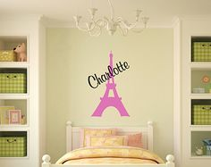 Girl Name Wall Decal Eiffel Tower Wall Decal Girl Bedroom Wall Decals Paris Decals Paris Bedroom Wall Decal Girl Nursery Decal