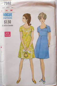 Vintage Vogue Sewing Pattern - One Piece A-Line Dress - Vogue 7592 - Size 12, Bust 34, Uncut on Etsy, £7.47