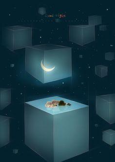 I did not want her to leave☪ Good Night Moon, Nighty Night, Boy Art, Illustration Art, Korean Illustration, Illustrations And Posters, Story Inspiration, Stars And Moon, Hush Hush