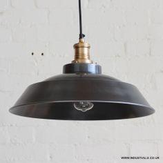BROOKLYN STEP LAMPSHADE - DARK PEWTER GREY - VINTAGE INDUSTRIAL DESIGNER METAL RESTAURANT PENDANT LIGHT - 40 cm / 15 inch