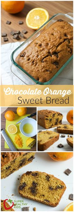 Chocolate Orange Bread. Chocolate orange bread made with real orange juice and zest, combined with white whole wheat flour, honey and dark chocolate for a healthier sweet bread. http://www.superhealthykids.com/chocolate-orange-bread-recipe/