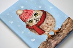 Owl giclée print on canvas. Owl wrapped canvas. Owl by MimoCadeaux on Etsy, $51.65+