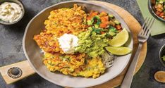 These gloriously bright fritters are both crunchy and sweet, and are set off perfectly by an A-team of tangy sour cream, guacamole and zesty salsa. Egg Preparations, Mexican Corn, Corn Fritters, Non Stick Pan, Vegetable Stock, Guacamole, Meals, Dinners, Spicy