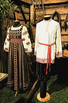 Russian traditional costumes on display in a Moscow museum. #folk