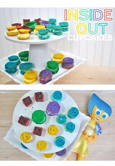 Let's Talk About #InsideOutEmotions with Inside Out Cupcakes! The perfect addition to any Inside Out party or even just for a chat with the kids about emotions. #ad