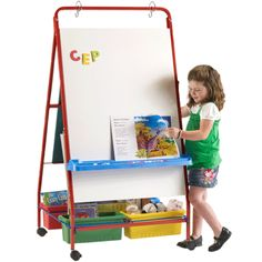 This Teaching Easel includes (4) Open Tubs, as well as a magnetic dry erase board and book rack. #PTE78
