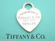 Tiffany & Co. Fine Authentic Please Return to Heart Charm Sterling Silver