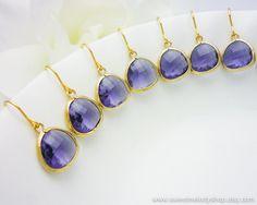 Wedding Jewlery Bridesmaid Earrings Bridal Jewelry Amethyst Gold Drop Earrings Purple Framed Glass Crystal Dangle Earrings. $18.00, via Etsy.