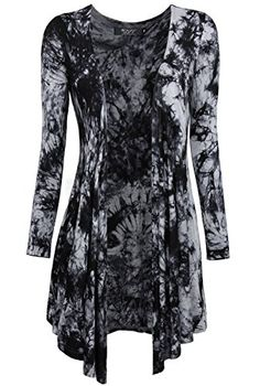 Dresses On Amazon · DJT Womens Allover Tie Dyed Long Sleeve Cascading  Cardigan Small Dark Grey DJT http   15b41e2b5a
